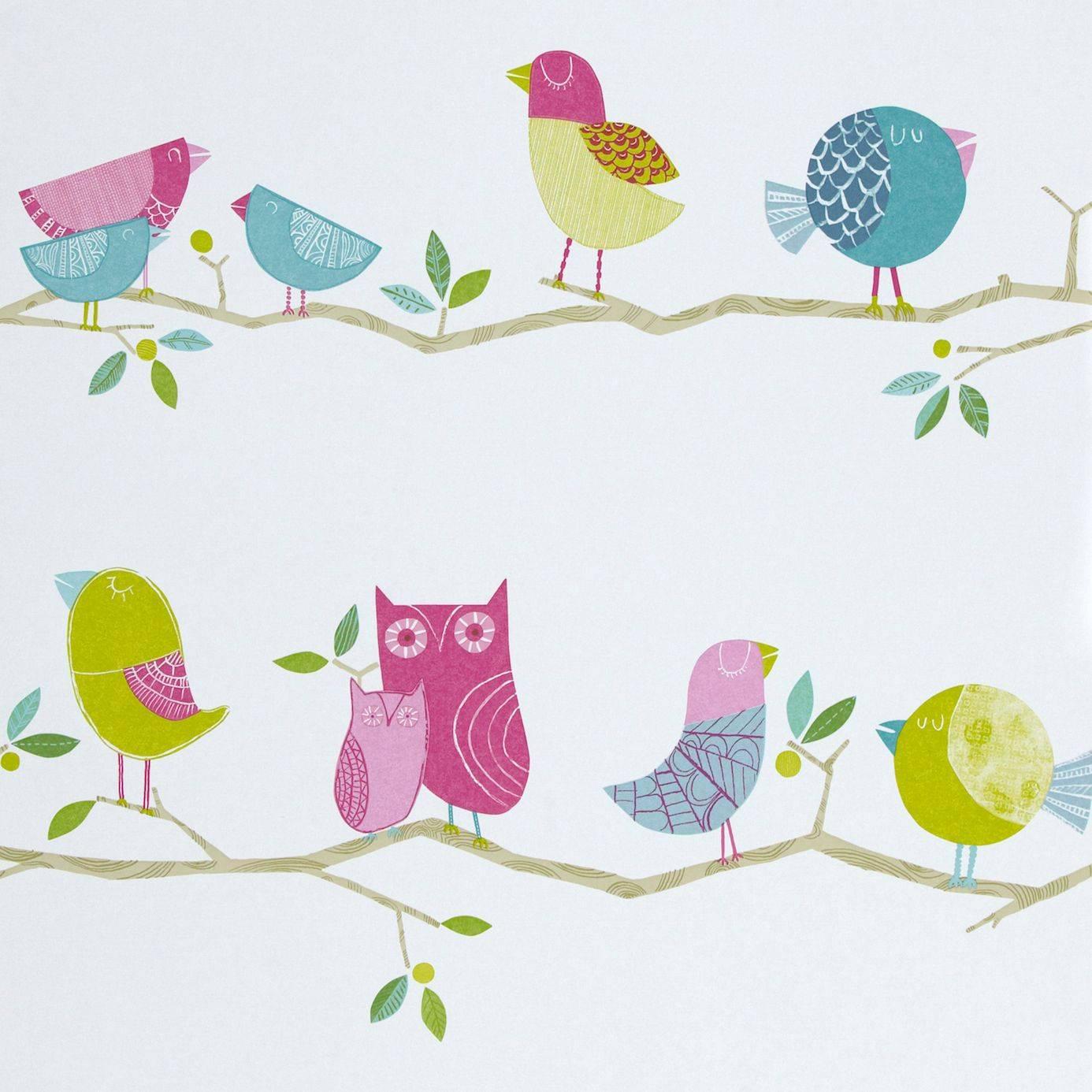 What a hoot wallpaper pink aqua apple natural 70515 for Bird nursery fabric